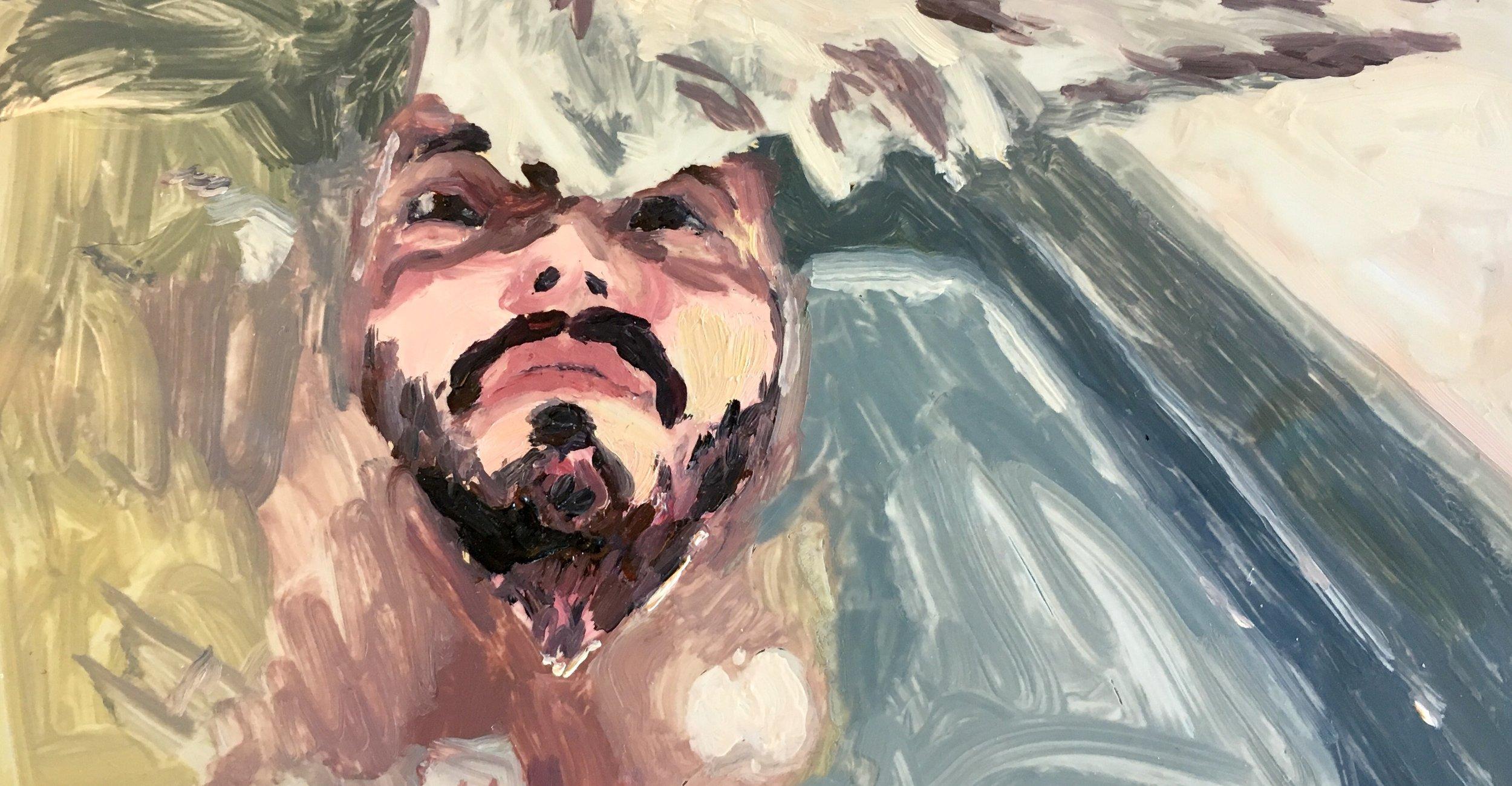 """Baptism"" by Adam Chuck,4x7.35in, oil on mylar"