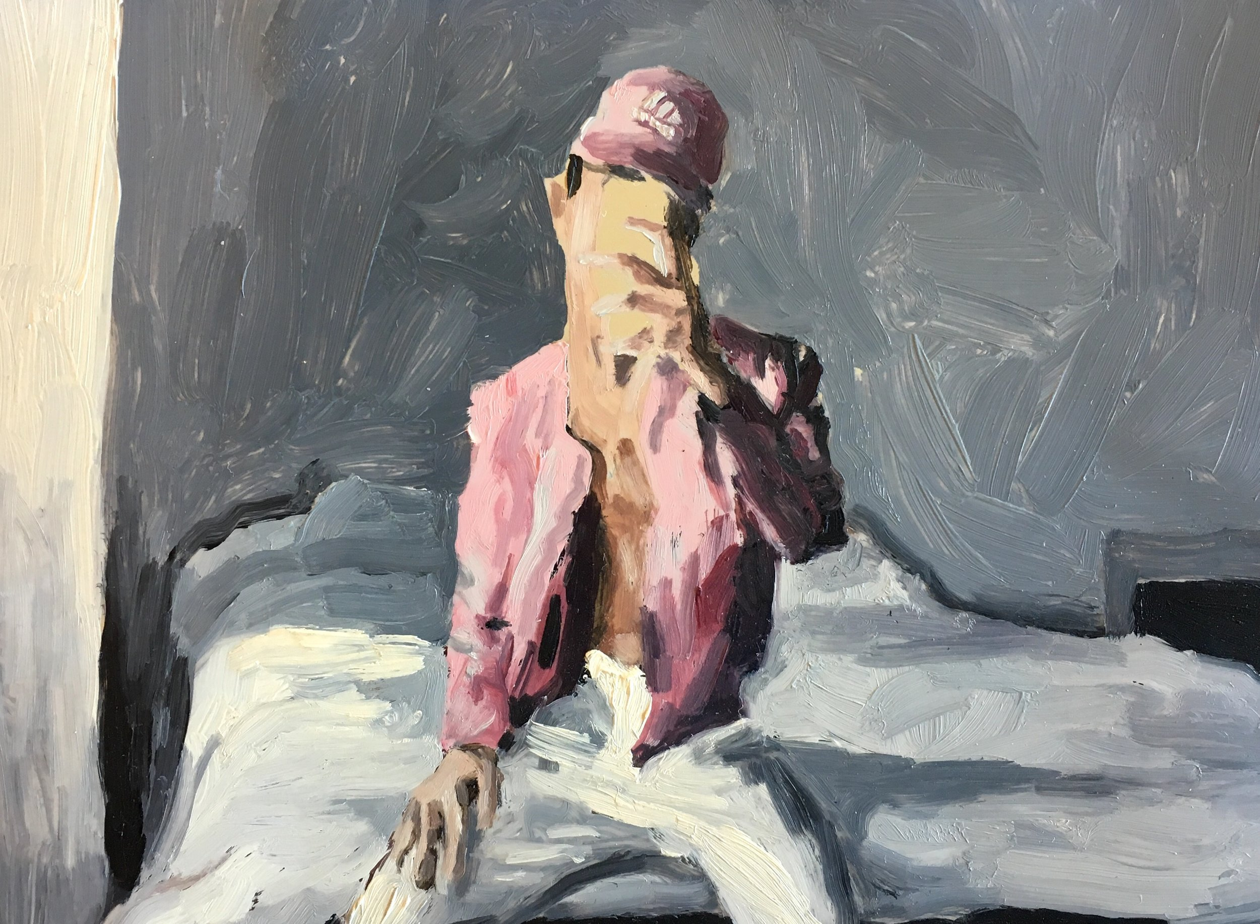 """Diogo In Pink"" by Adam Chuck, 5x7in, oil on mylar"