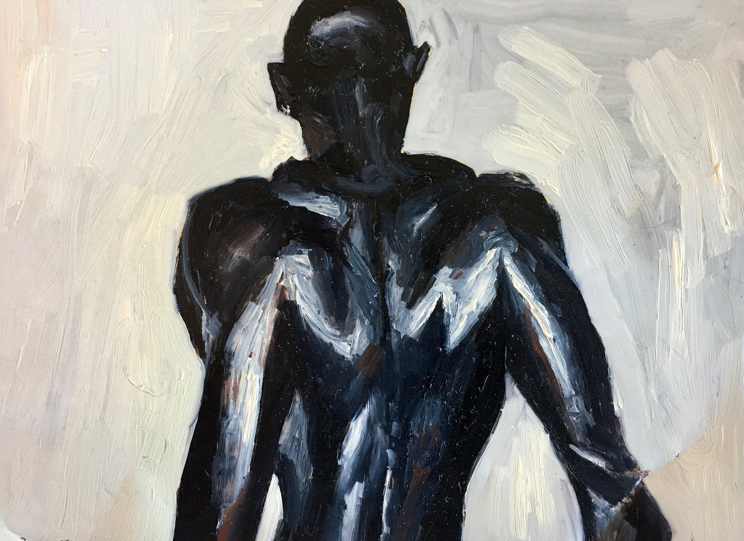"""""""Raven Wings"""" by Adam Chuck, 5.5x7.25in, oil on mylar"""