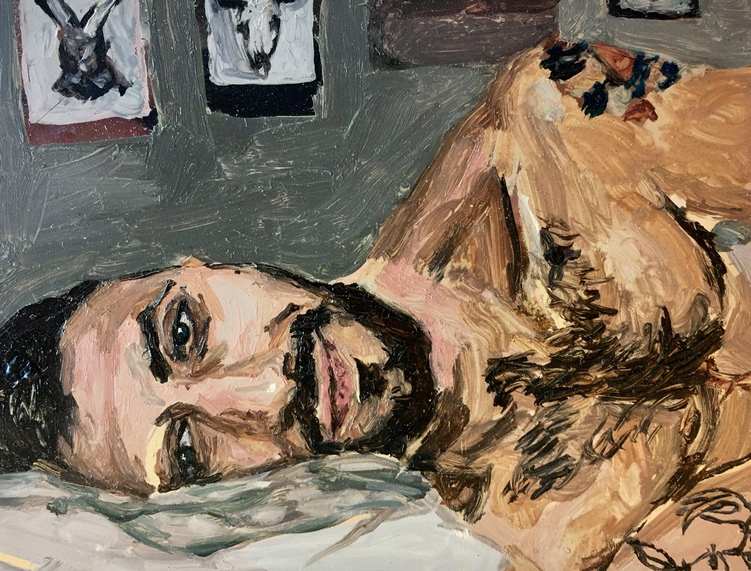 """Portrait of Les"" by Adam Chuckn, 3.25x4in, oil on mylar"