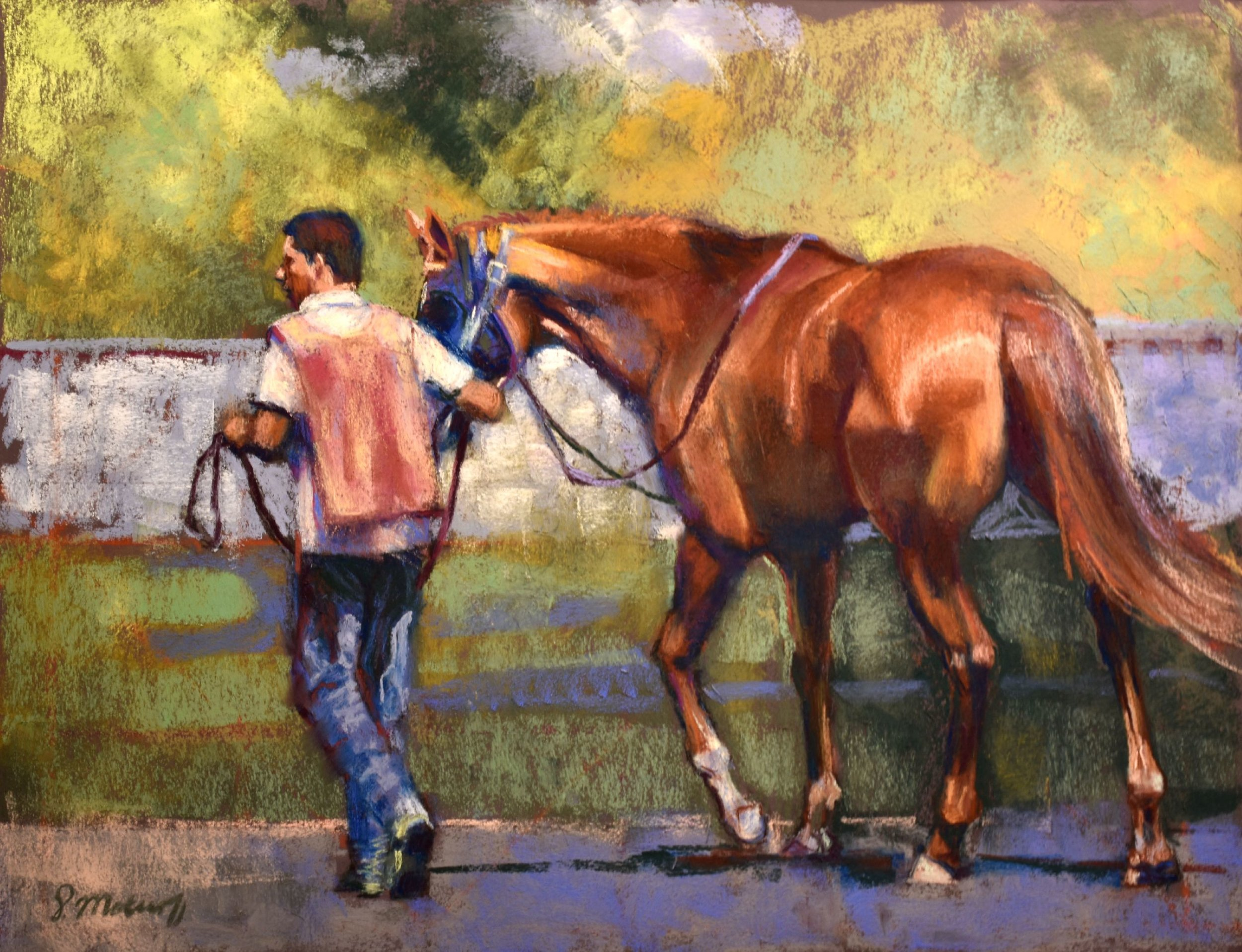 """Before the Race"" by Sharon Matisoff, 19x36in, pastel on sanded paper (2017)"