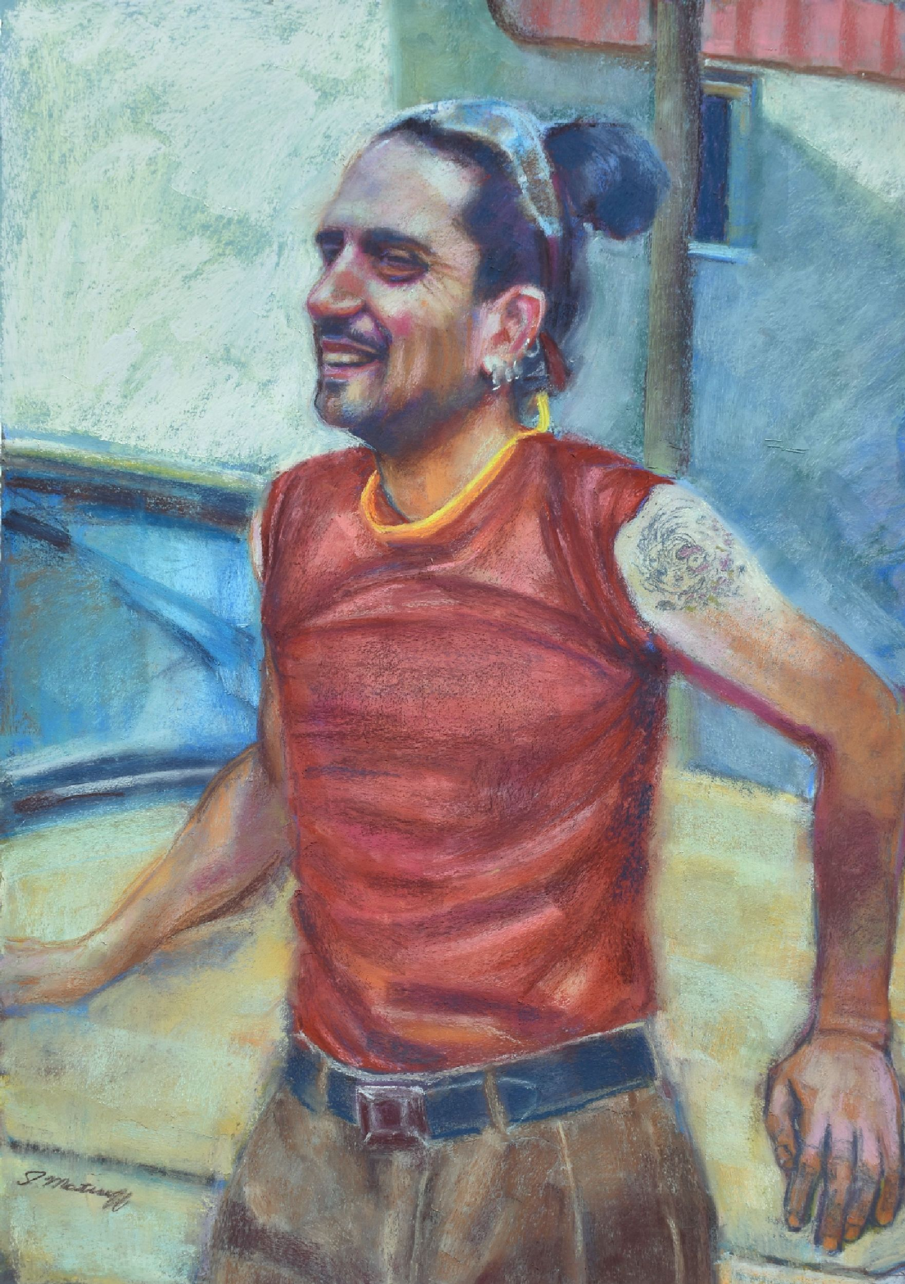 """Chillin'"" by Sharon Matisoff, 27x19in, pastel on sanded paper (2017)"