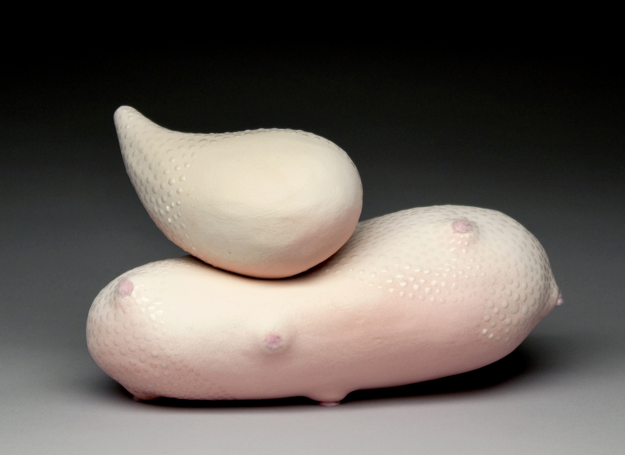"""Inclination"" by Amy Chase, 8x4x3in, Earthenware, Fibers"