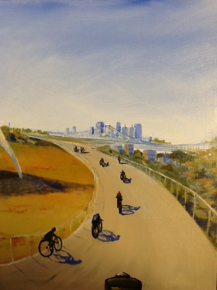 """Big Four Bikes"" by Kathie Daulton, 20x16in, oil on canvas (2015), $300 