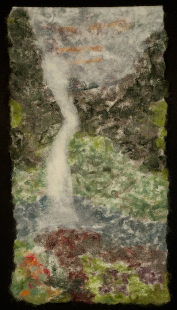 """Sweet Summer"" by Dobree Adams, 62x32in, Felted by hand and on the FeltLoom; Silk, Merino and Lincoln Wool (2016), $950"
