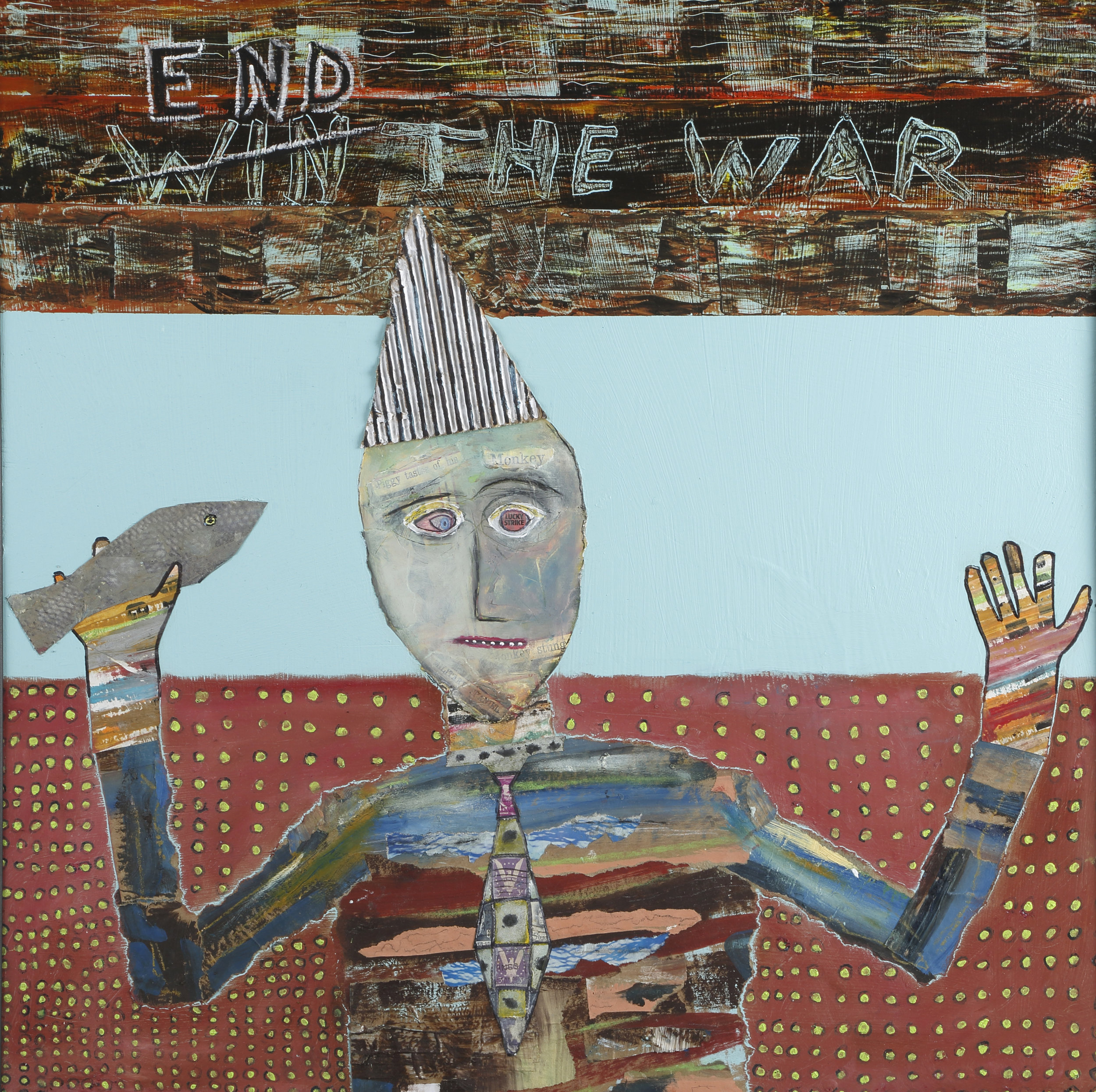 """""""End the War,"""" Tad DeSanto, 24x24in, mixed media, NFS (sold)"""