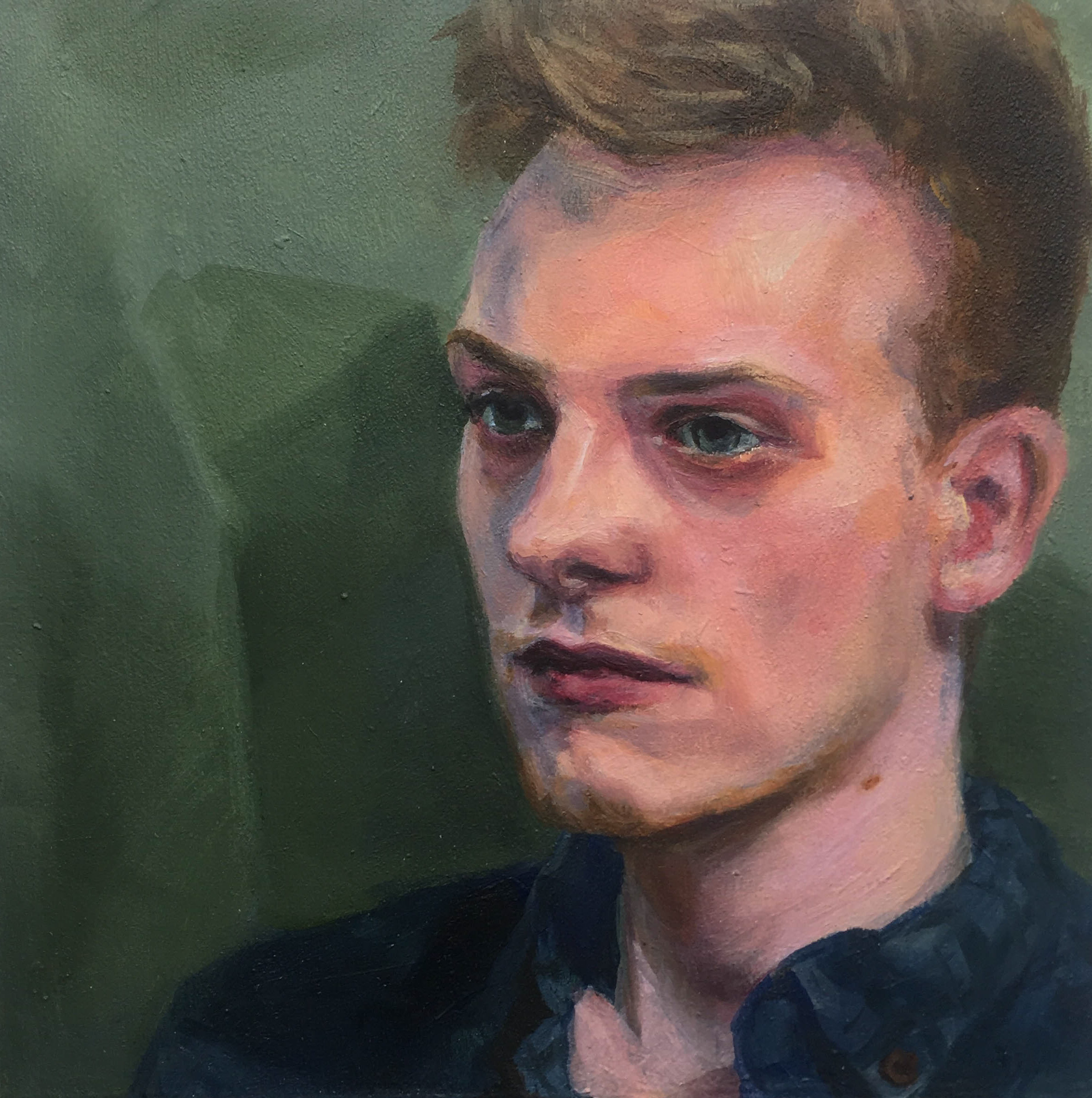 """""""Scott (musician),"""" Mary Clore, oil on panel, 5x7in, 2016, NFS"""