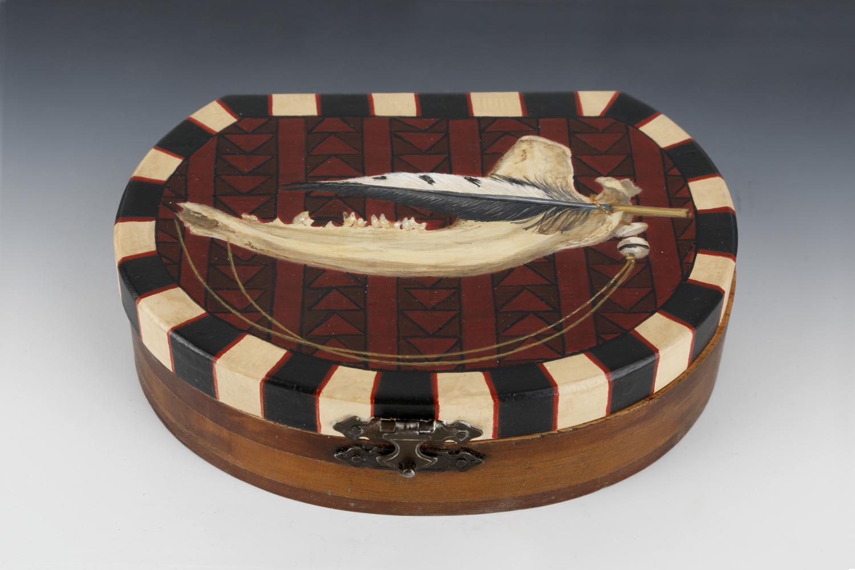 """""""Bone Fetish Box"""" by Wendi Smith,Acrylic on reclaimed cedar box, jawbone, feather, bead, cord,5.75x3.75x1.5in, 2016"""