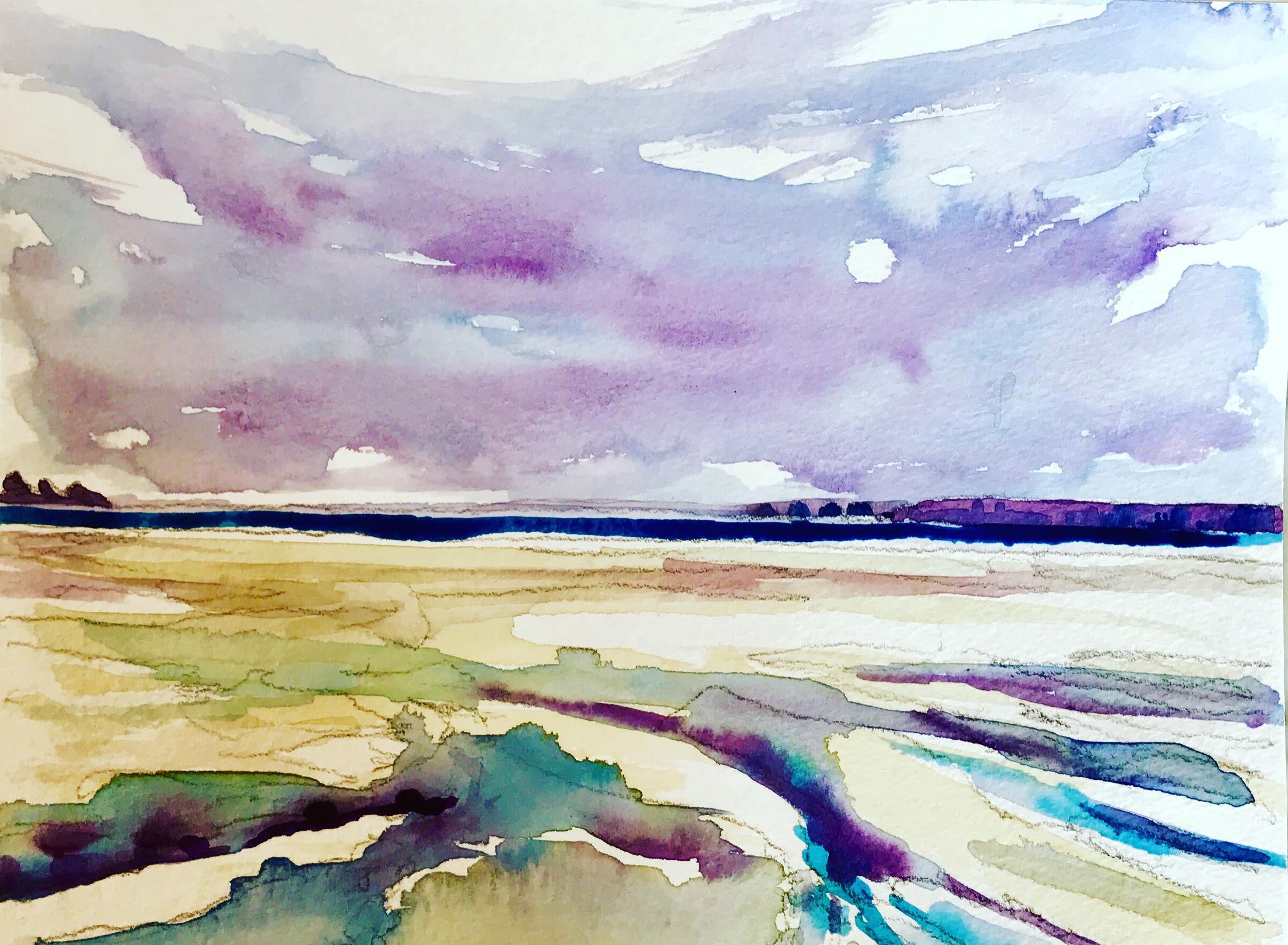"""""""Low Tide in Saint Michel"""" by Richard Shu, watercolor, 12x14in, 2017, $780"""