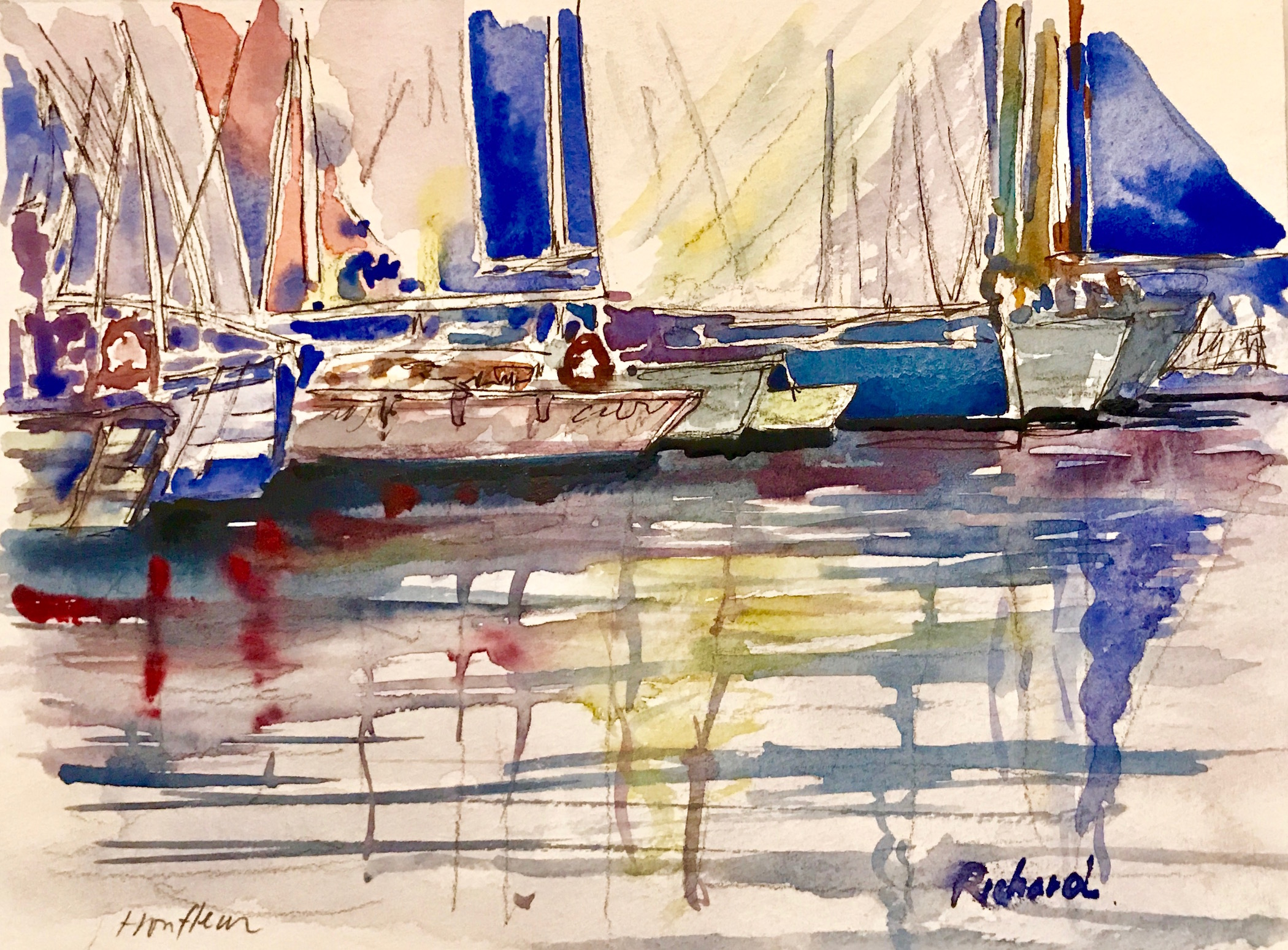 """""""The Harbor"""" by Richard Shu, watercolor, 12x14in, 2017, $800"""