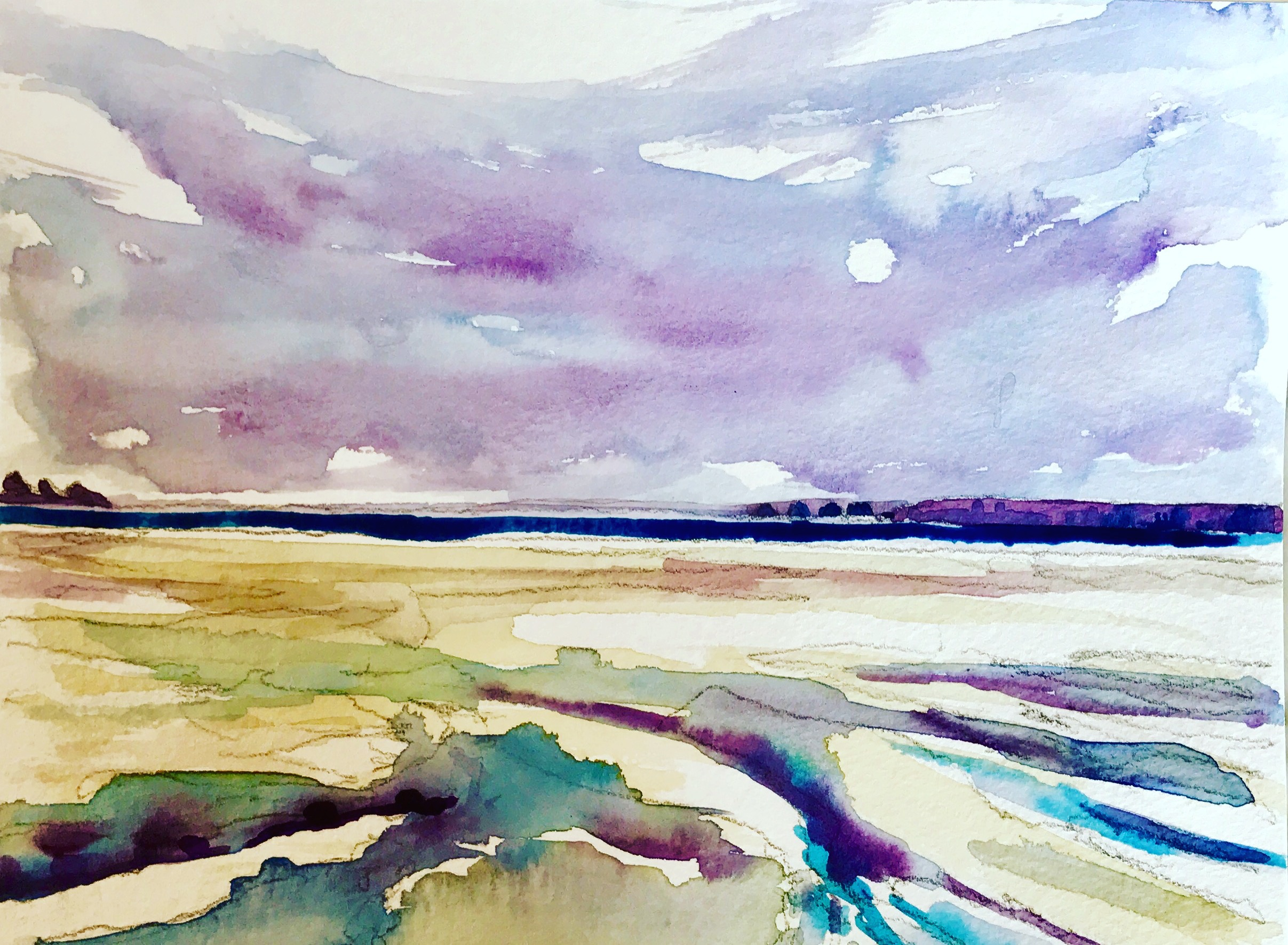 """""""Low Country"""" by Richard Shu, watercolor, 12x14in, 2017, $780"""