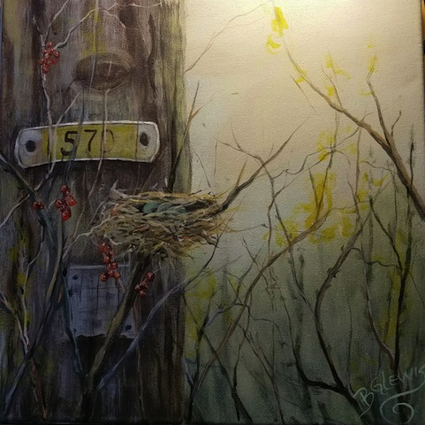 """""""Twigs and Twine"""" by B.G. Lewis, acrylic, 11x14in, 2017, $175"""