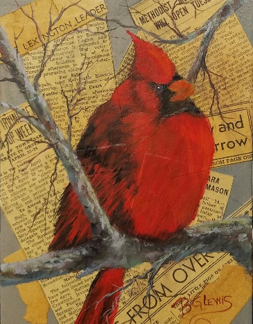 """""""Cardinal Knowledge"""" by BG Lewis, acrylic, 8x10in, 2017, $150"""