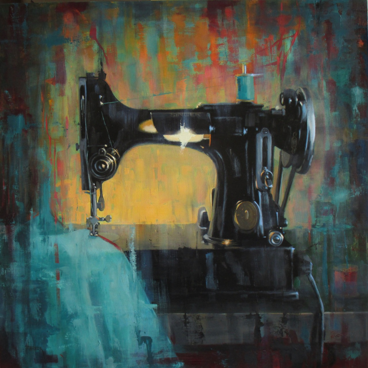 """Singer Sewing No2"" by Claudia Hammer, oil on panel, 20x20in, 2017"
