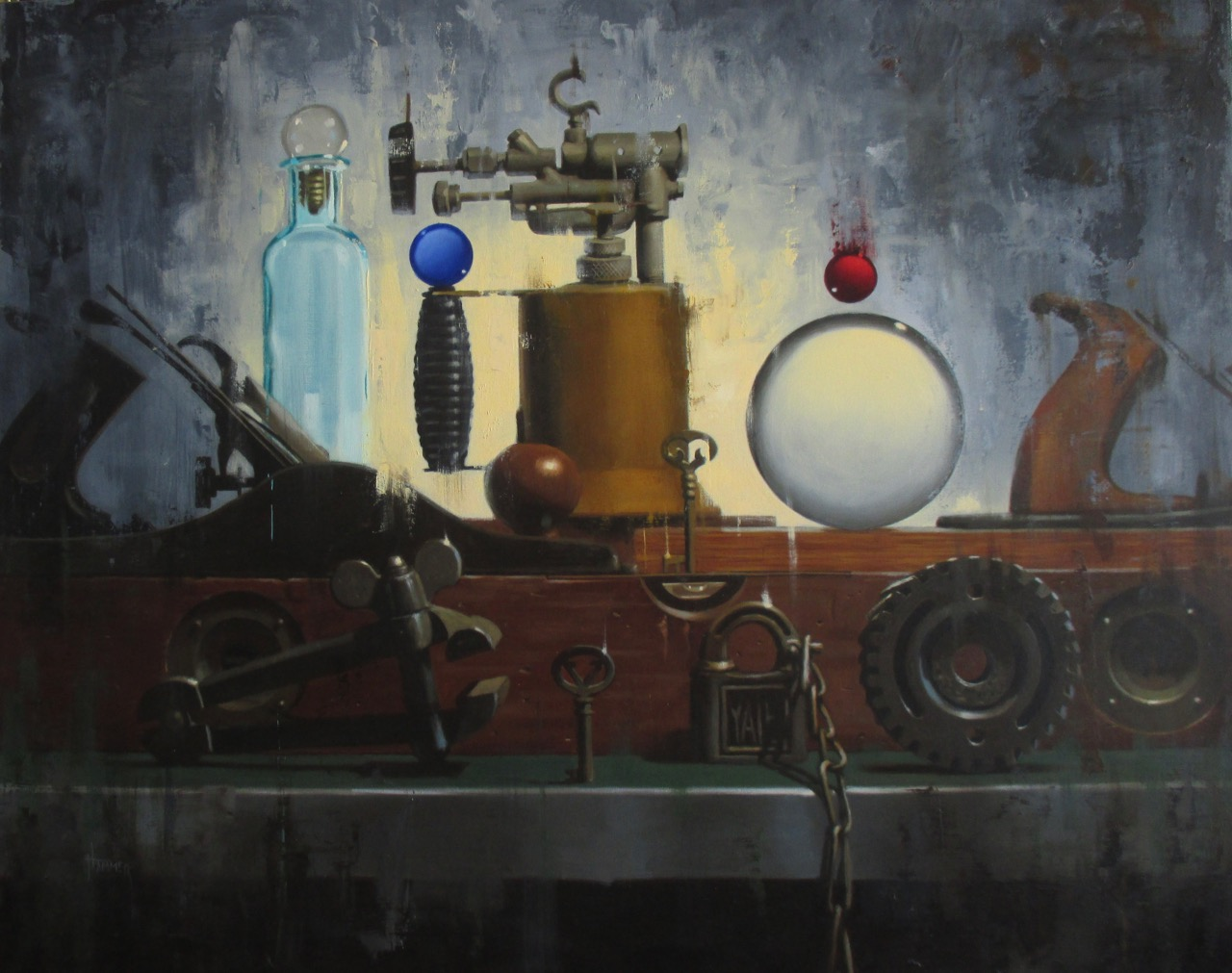 """Tools and Orbs working together"" by Claudia Hammer, oil on panel, 24x30in, 2017"