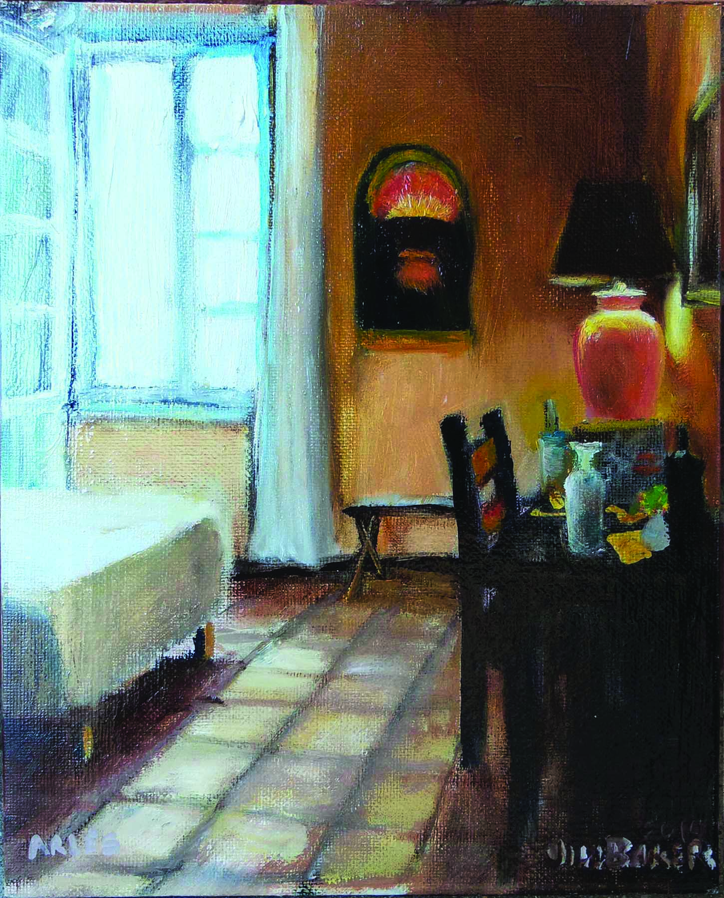 """""""My Room In Arles"""" by Jill Baker, oil, 8x10in, 2017, $5000/Prints available $200"""