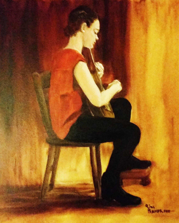 """""""Guitarist"""" by Jill Baker, oil, 20x24in, 2017, $750"""
