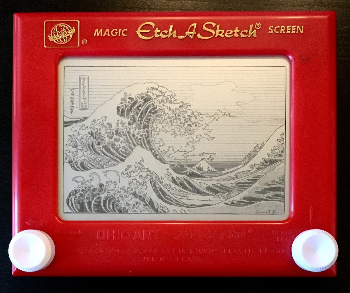 """Great Wave (Hokusai)"" by Carrie Johns, Full Size Etch-a-Sketch, 2016"