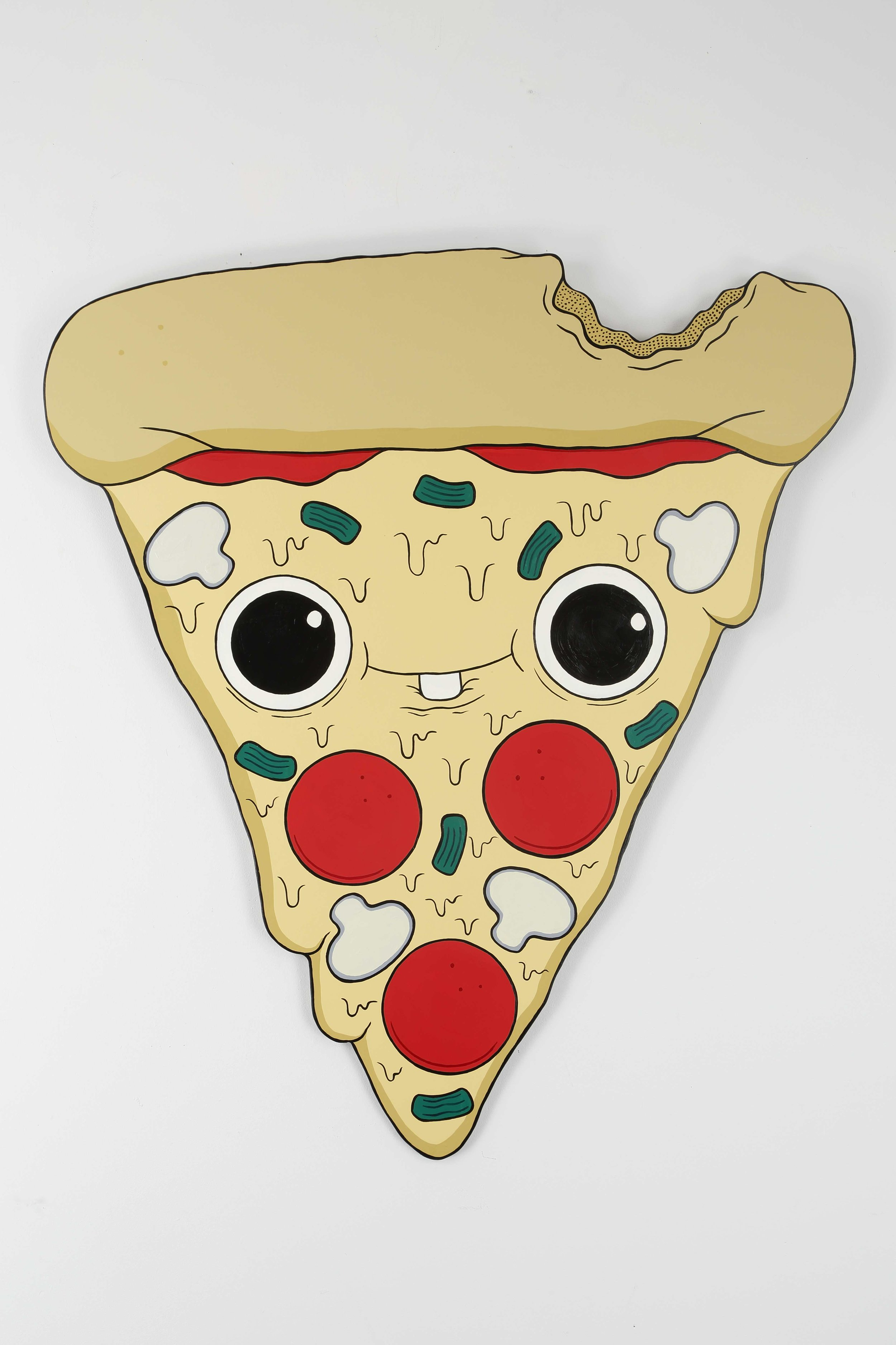 """""""Take Another Little Pizza My Heart Now, Baby"""" by Shae Goodlett,Acrylic on Plywood, 3ft x 4.5ft, 2017 SOLD"""