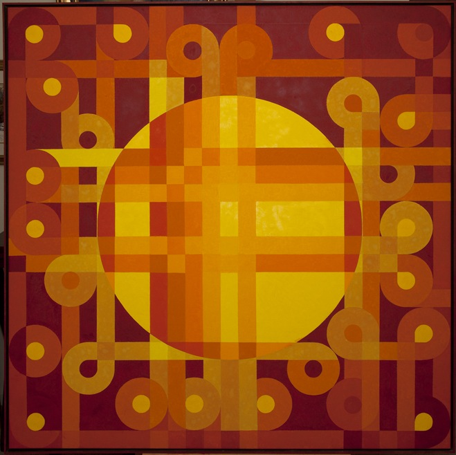 """Solar Flares"" by Barry Burcaw, oil on canvas, 50x50in, 2008 $3500"