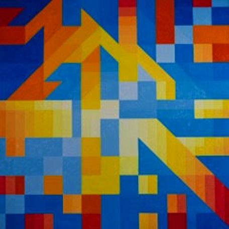 """Pixilated"" by Barry Burcaw, oil on canvas, 50x50in, 2-16, $2800"