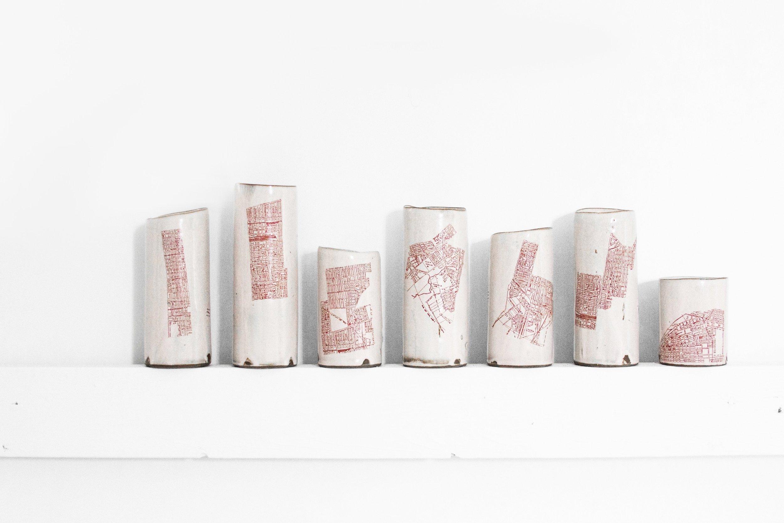 """""""IghborhoodNe"""" by Luke Gnadinger, Ceramic, 7Hx 24W,x2.75in, 2017, POR"""