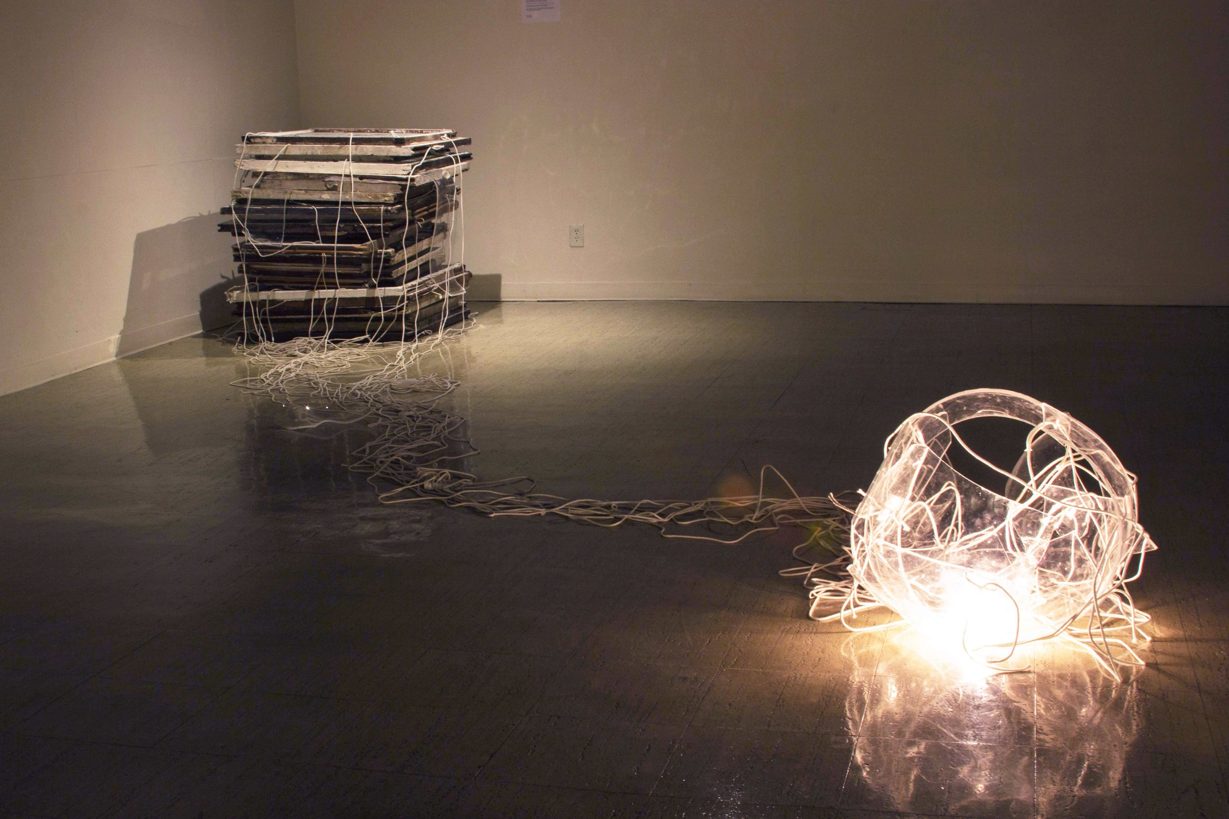 """House"" by Luke Gnadinger,Windows, Cord, Lights, Slumped Plexiglass,4Tx20Wx20Dft, 2014"