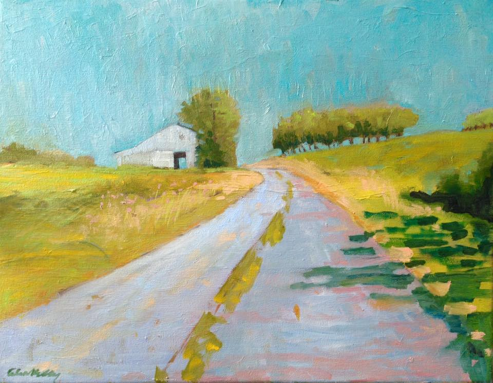 """""""Spencer County Farm Lane"""" by Celia Kelly, oil on canvas,14x18in,2017, $300"""