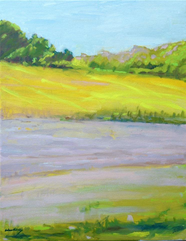 """Yellow Field Stripes"" by Celia Kelly,oil on canvas,18x14in,2017, $300"