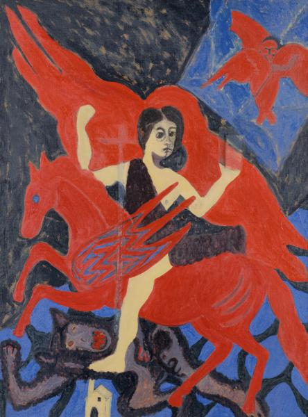 """""""Enchanted Rider"""" by Bob Thompson, oil on canvas,1961"""