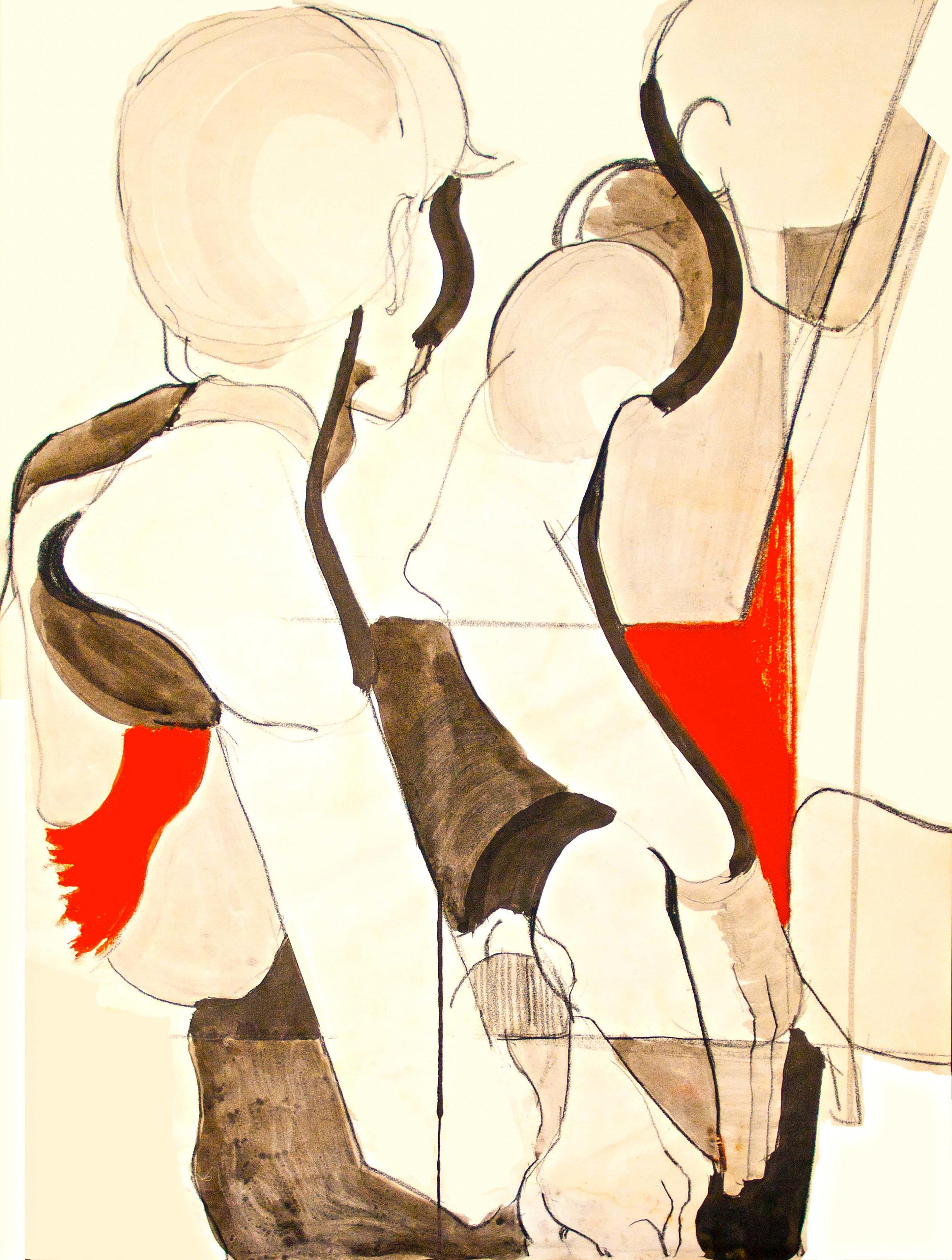 """Boys"" by Sid Webb,Ink & conte crayon, digital restoration, 16x20in, 1967, $2200"
