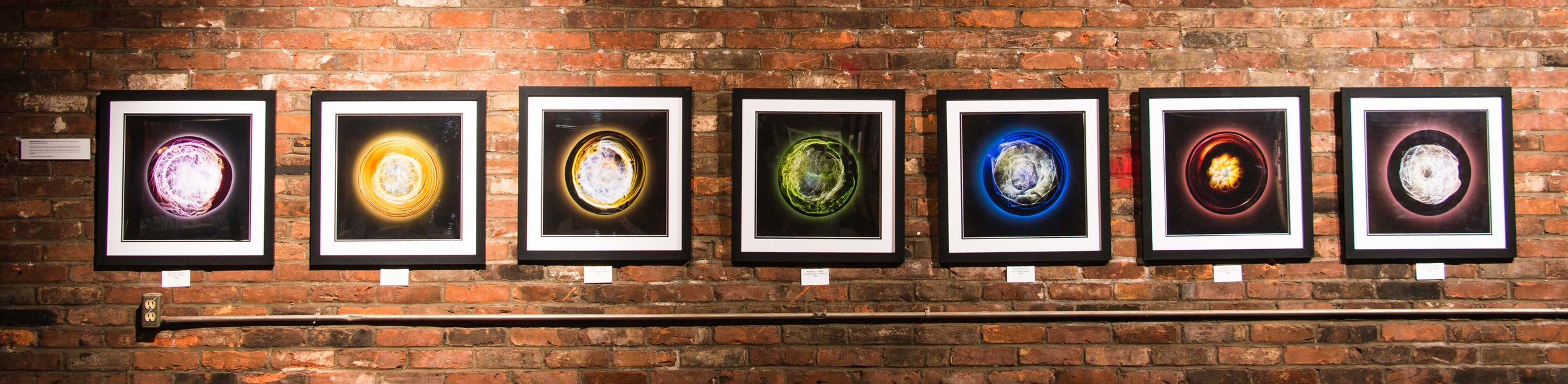 """""""Rosy Retrospection"""" by Whitney Olsen in collaboration with Keegan Kruse,Light refraction photos,7 - 22x22in frames, 2017, $500 each"""