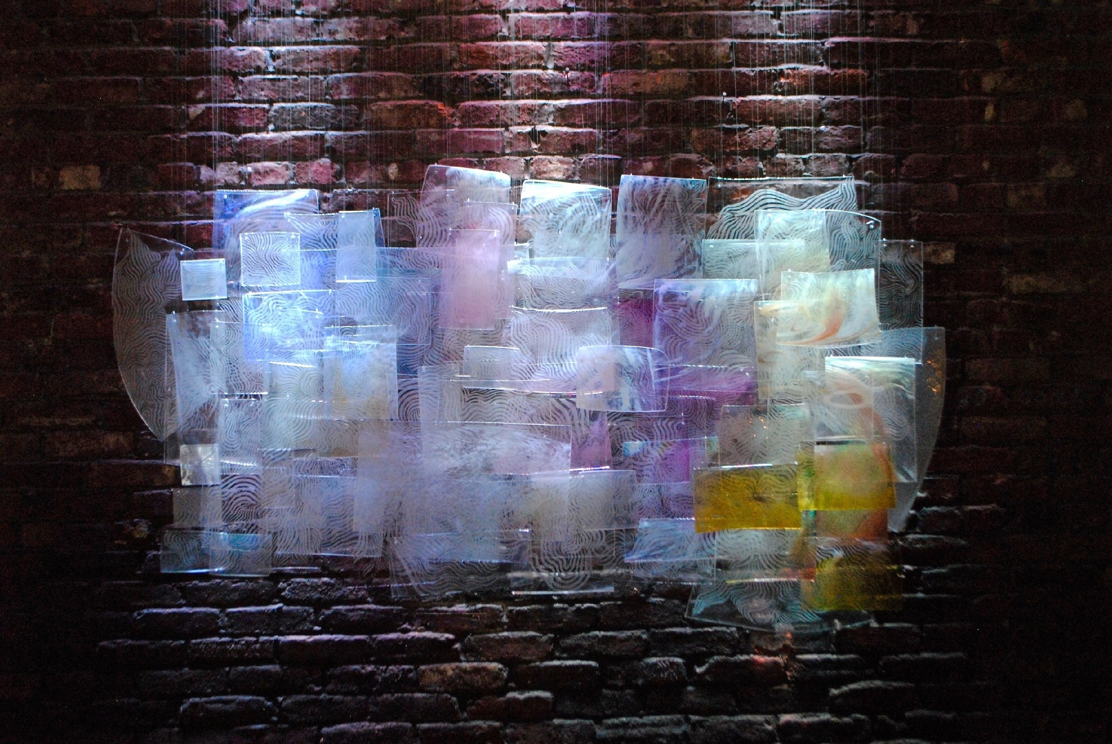 """""""Day Dreams"""" by Whitney Olsen,Blown, cold worked, slumped, etched glass, metal and light,48x72in, 2015, $12,000"""