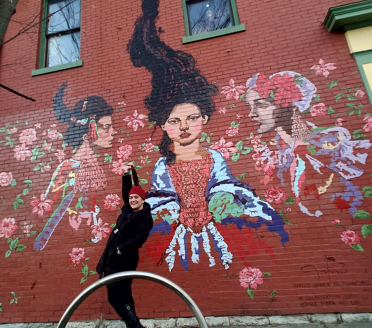 "LVA was thrilled recently to discover that  Amanda James , an Assistant Director of Young Alumni & Student Philanthropy at the University of Louisville and self-described ""wall crawler"" (mural fan!) ended her 2017 by visiting the  trio of murals  LVA & Google Fiber helped bring to life for artists Carrie Donovan, Liz Richter and Carlos Gamez de Francisco.  She credits her friend Josephine Lee for introducing her to the murals and said of them, ""I absolutely love these additions to Louisville!"" We do, too, Amanda! Thank you for these wonderful photos."