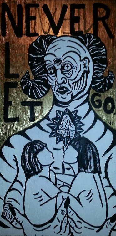 """""""Never Let Go"""" by Cori Hills, Acrylic paint, spray paint on hand-carved woodcut, 4x2ft, 2014, $2500 (Prints unavailable)"""