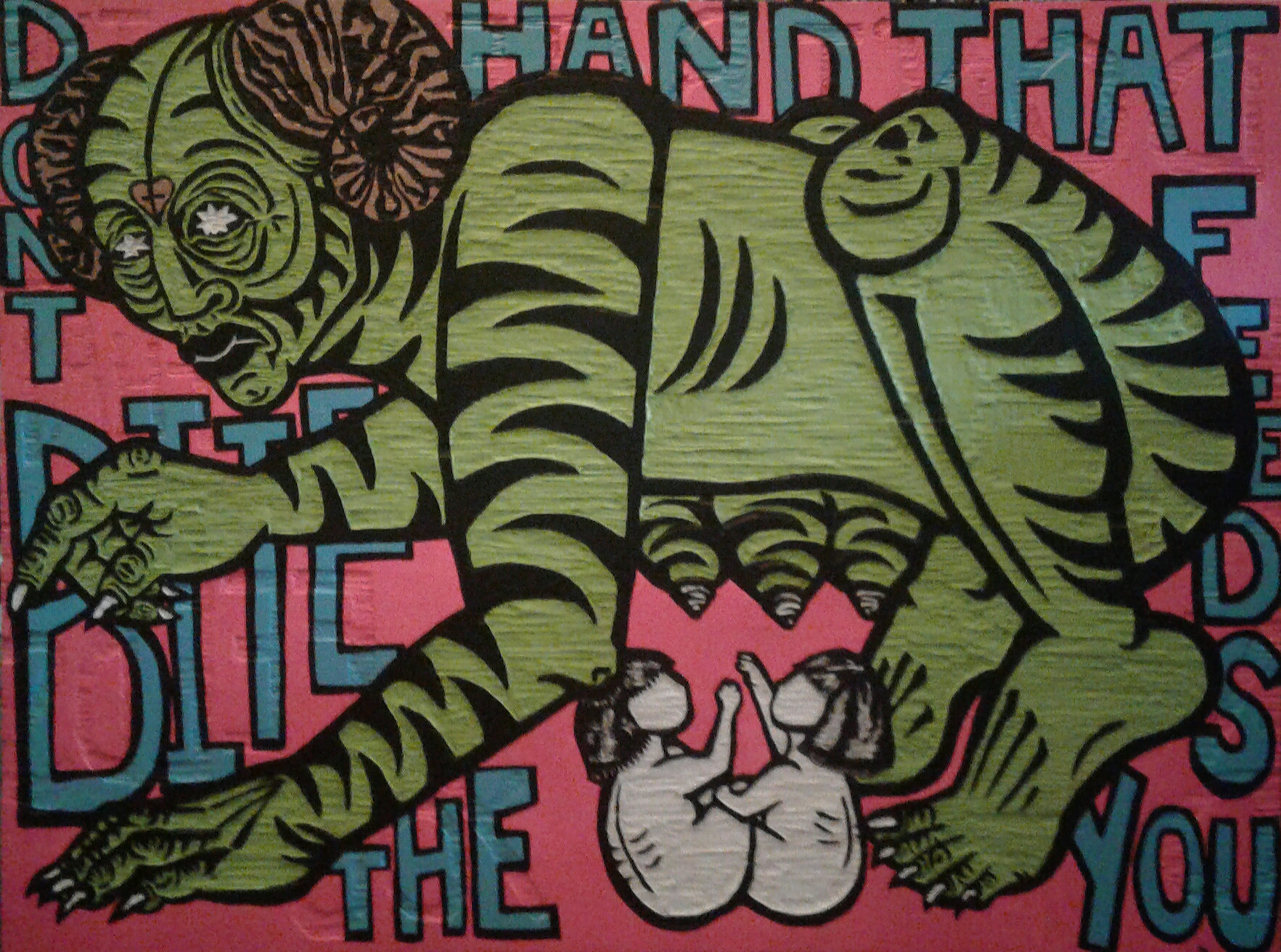 """""""Don't Bite The Hand That Feeds You"""" by Cori Hills, Acrylic paint, spray paint on hand-carved woodcut, 4x3ft, 2017, $3500 (Prints unavailable)"""