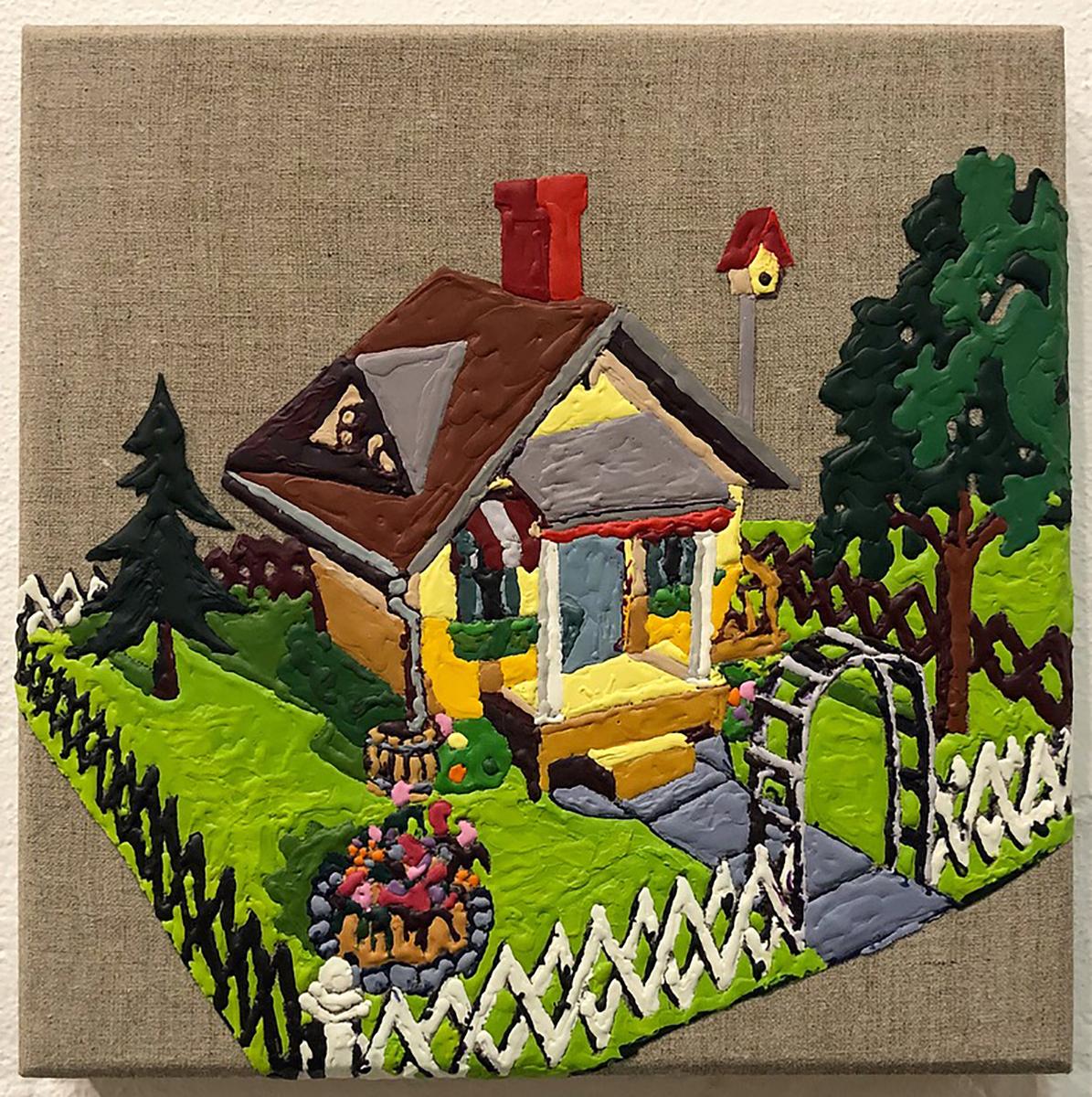 """lil homies"" by Waller Austin,crayon, gesso, linen, wood 12x12in, 2017,$900"