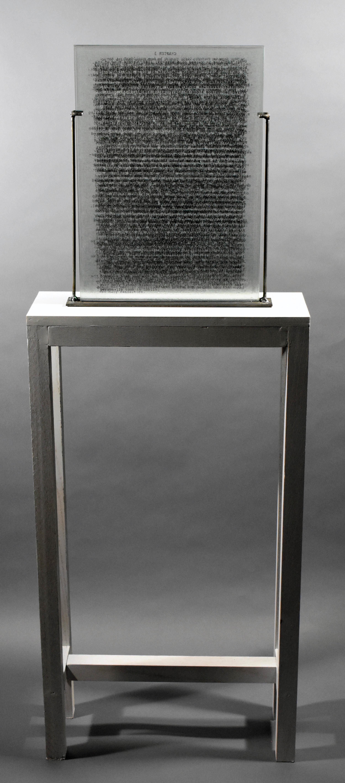 """Hidden Histories II"" by KCJ Szwedzinski,glass, wood, metal 54x20x8in,2017, POR"