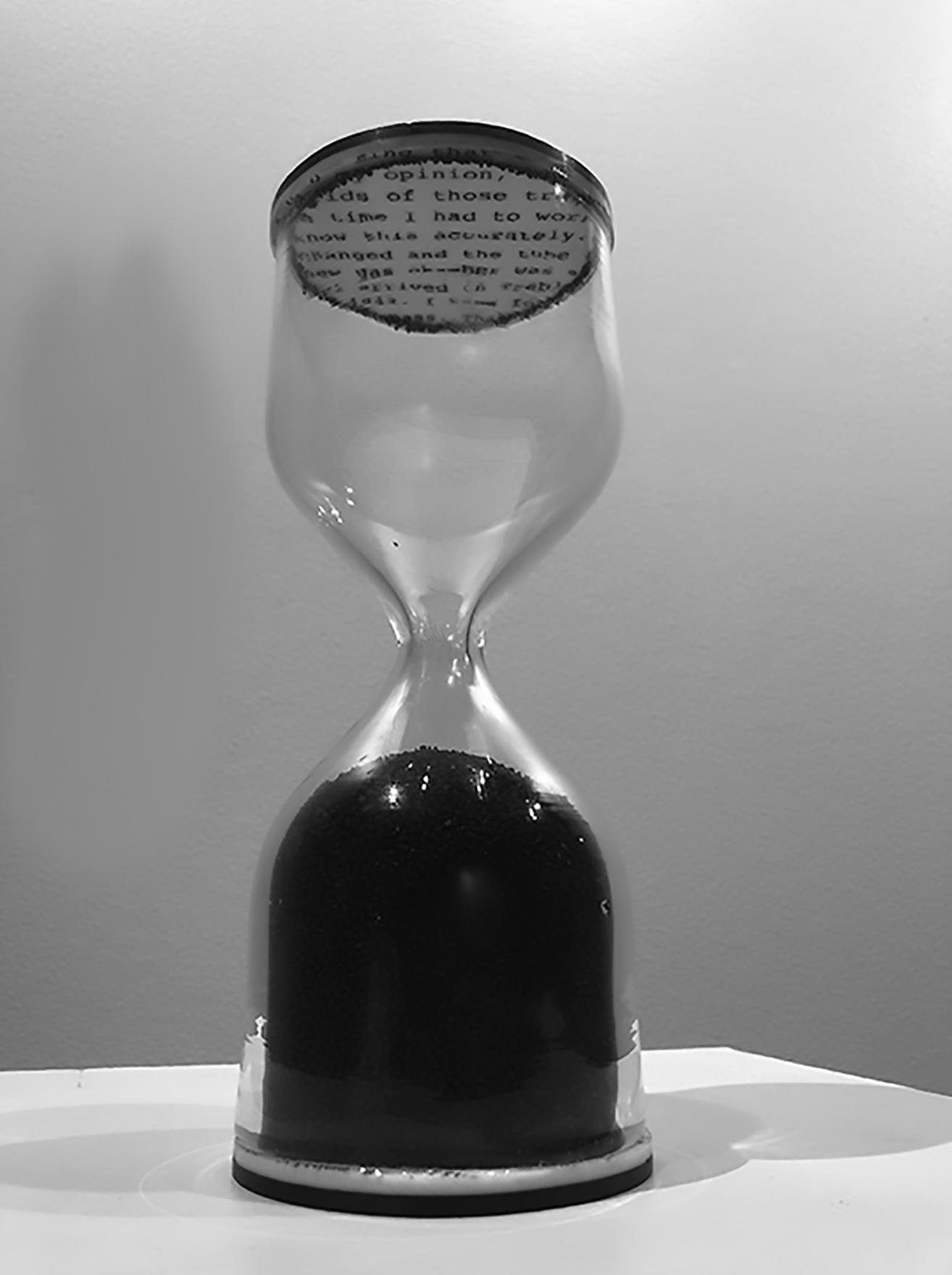"""A Measure of Time"" by KCJ Szwedzinski,blown and sheet glass, stone granules, 10x6in,2017, POR"