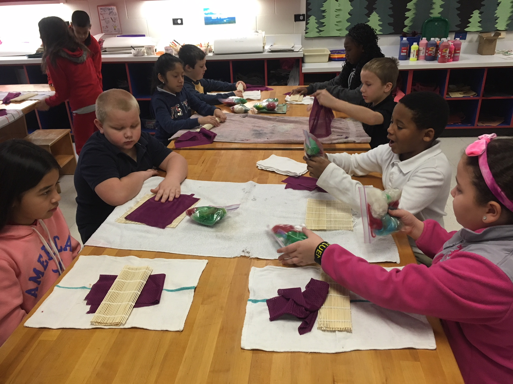 3rd & 4th grade CFAC students at Fairmont Elementary in New Albany, In., loved their foray into the world of fiber art where teaching artist Trish Korte taught them how to use wool fibers to make felted creatures!  Thanks to Fund for the Arts and their Teacher Arts Grant (TAG) program for their invaluable support!