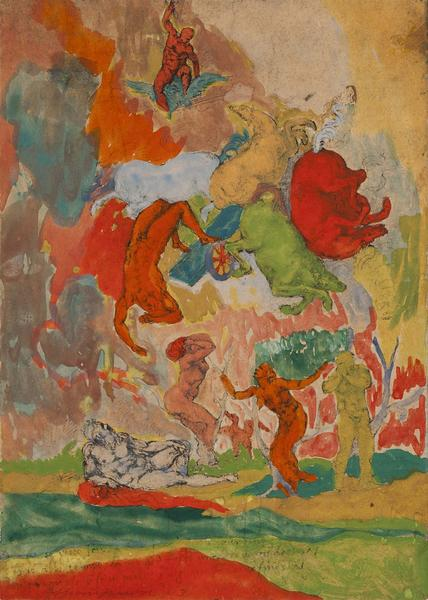 """""""Untitled (Michelangelo's Fall of Phaeton)"""" by Bob Thompson, 1963,gouache on paper (page from art catalogue),12 1/8x8 3/4in, signed and dated,© Estate of Bob Thompson"""