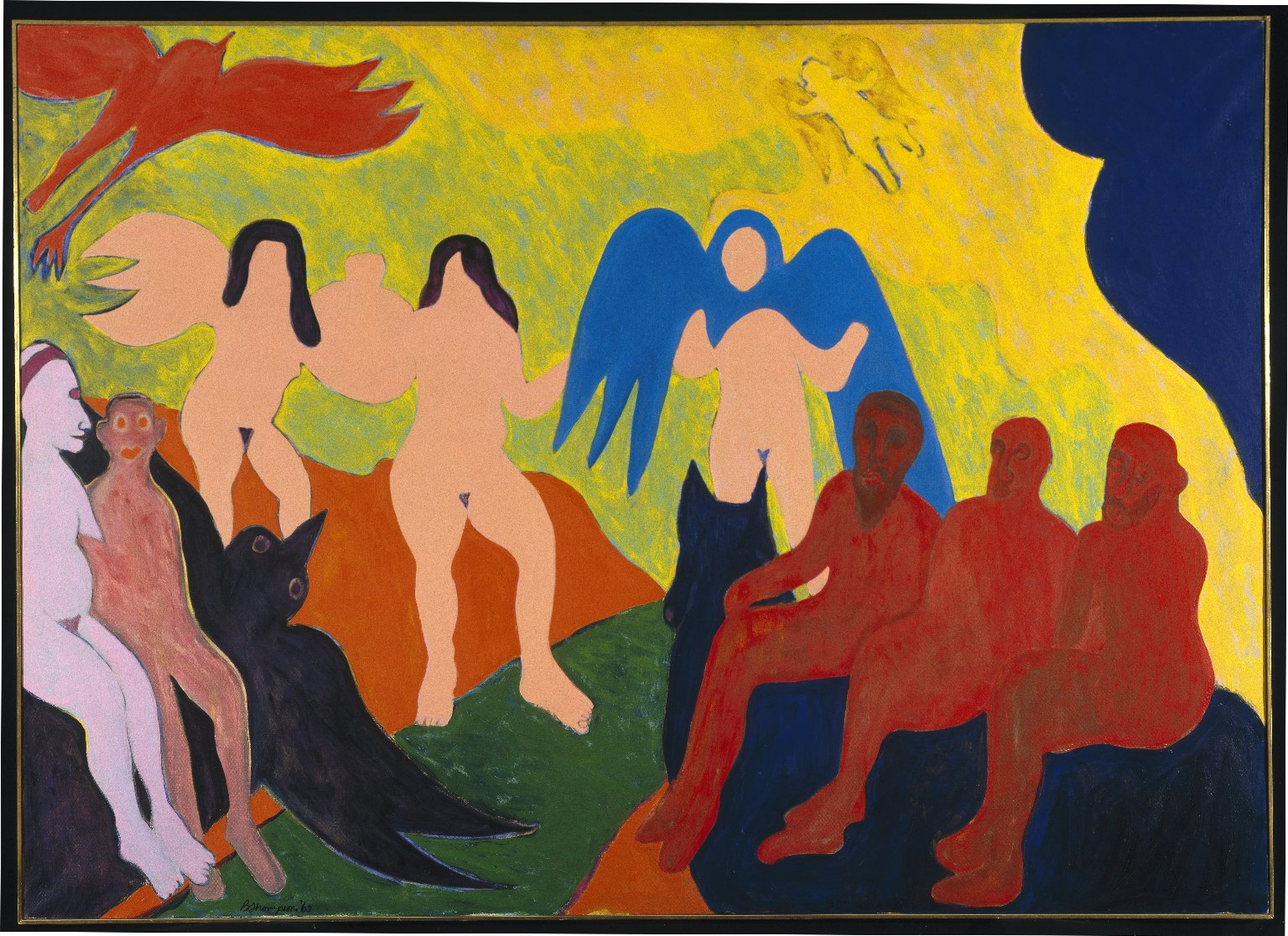 """""""The Judgement """" by Bob Thompson, 1963. Oil on canvas, 60x84in. Brooklyn Museum, A. Augustus Healy Fund, 81.214. © Estate of Bob Thompson (Photo: Brooklyn Museum, 81.214_SL1.jpg)"""