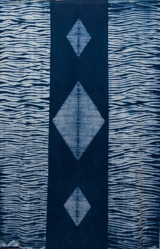 """Untitled ELA #4 – Shibori Wall Hanging"" by Elmer Lucille Allen, Natural Silk Noil – Three Panels - Stitched Resist and Pole Wrapped – Dyed Blue, $1000 