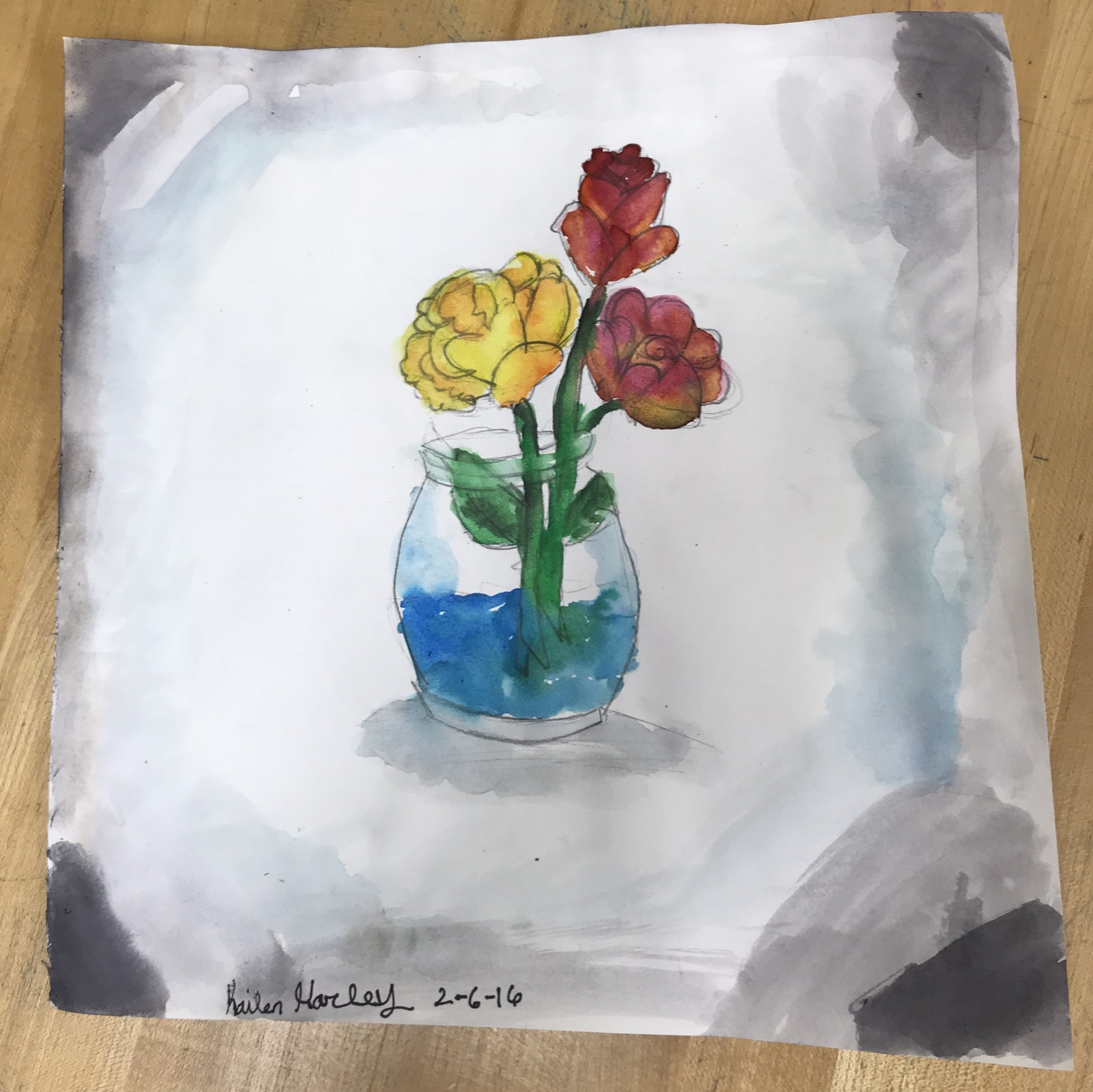 CFAC students at Grant Line Elementary did a still life rose with pencil and watercolor with instructor Felice.