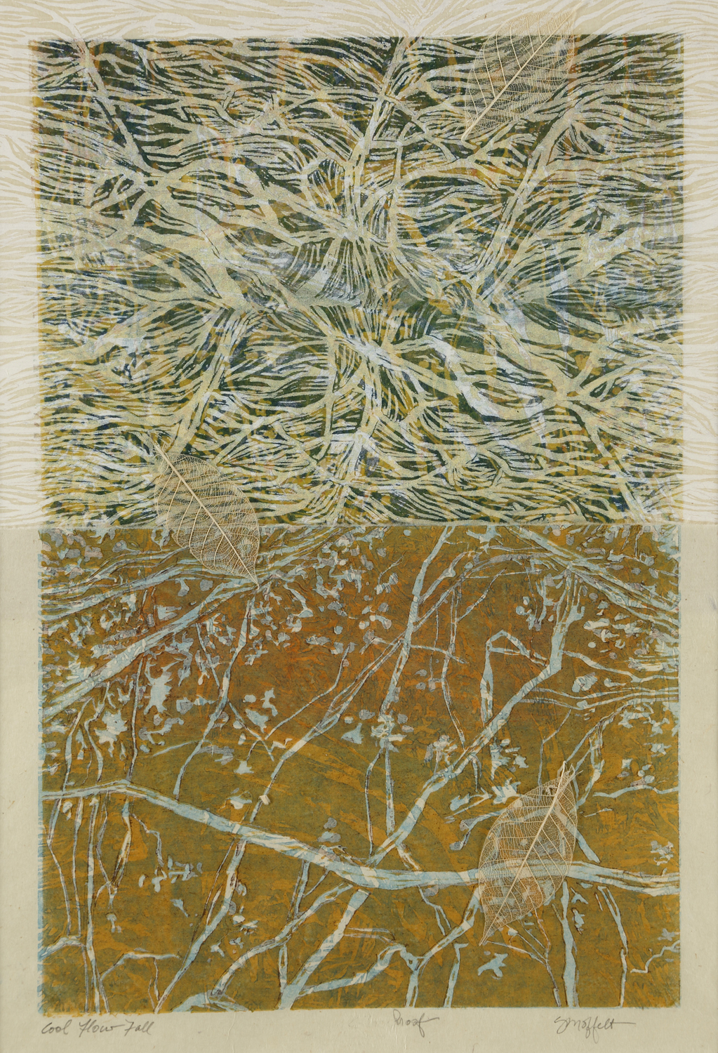 """""""Cool Flow, Fall"""" by Susan Moffett, Relief Monoprint Collage, 14x20in, 2016"""