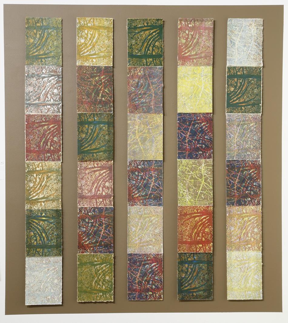 """""""Seasonal Rhythms"""" by Susan Moffett, Relief Monoprint Installation, 42x54in, 2016"""