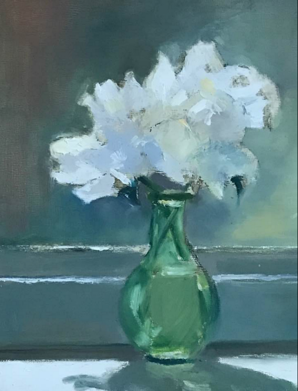 """Peonies in Green Glass Vase"" by Cathy Shepherd, Oil, 10x8in, 2017. POR"