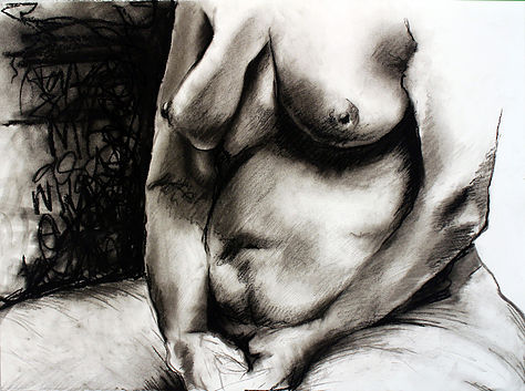 """""""Still"""" by Elle Brown, Charcoal on paper, 22x30in, 2017, POR"""