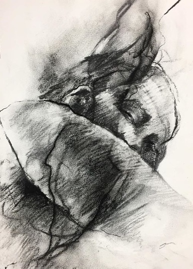 """""""Light Through The Storm"""" by Elle Brown, Charcoal on paper, 10x13in, 2018, POR"""