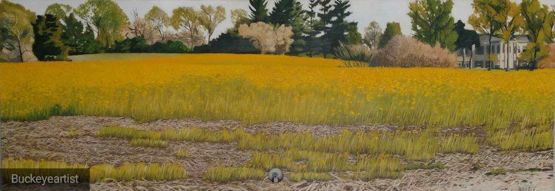 """Waldeck with Mustard"" by Brian Bailey,Oil on found wood door, 80x28in, 2017, POR"